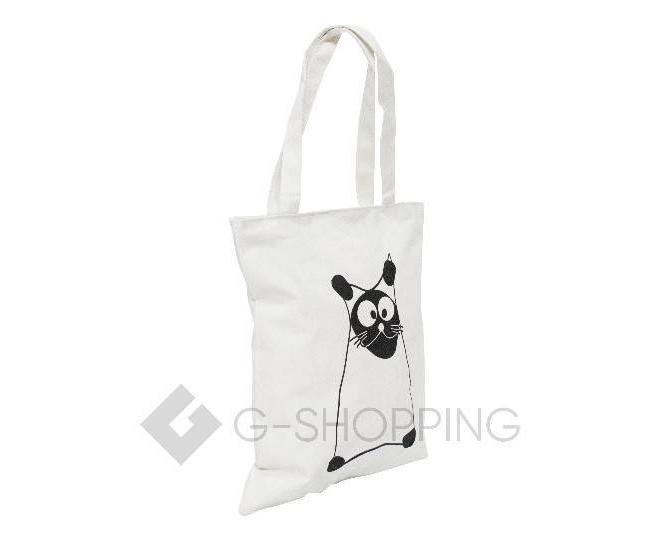 Текстильная сумка-шоппер с принтом на молнии белая C188-1, фото 2