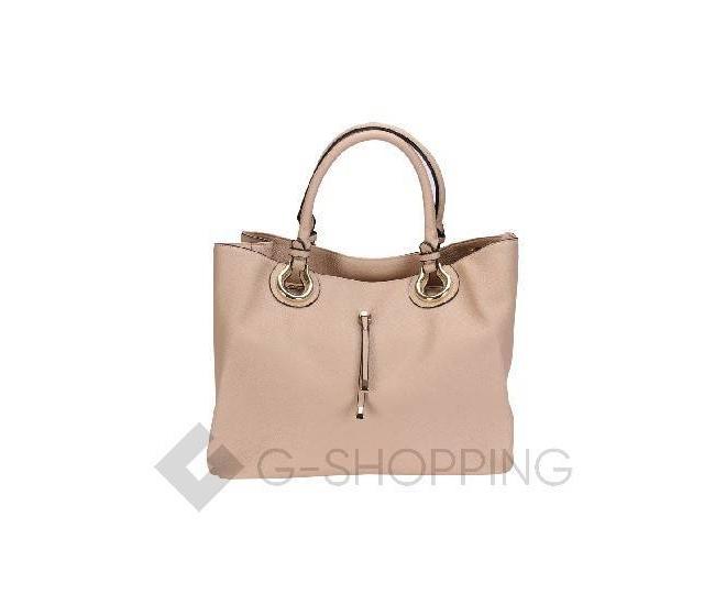 Женская сумка бежевая на молнии, фото 2