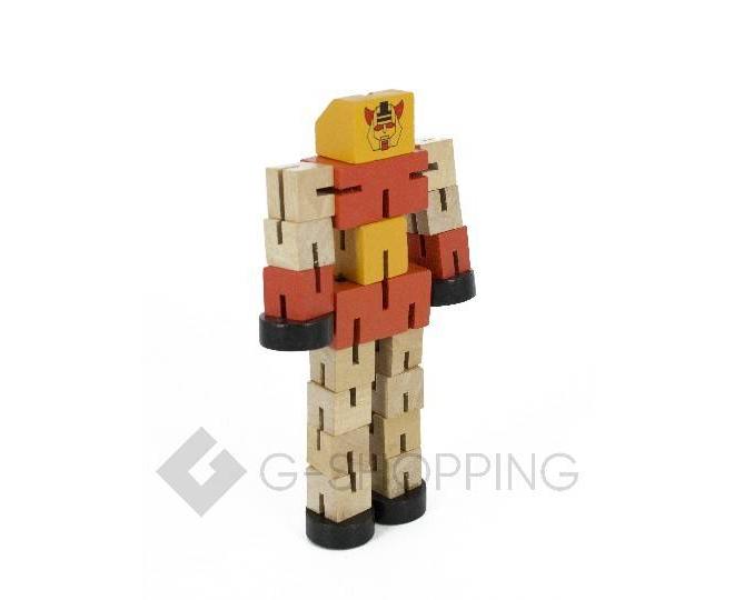 Деревянный робот-трансформер красный DOLEMIKKI, фото 2