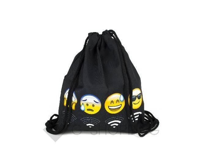 Текстильный водонепроницаемый рюкзак-мешок для сменной обуви Эмоджи Вай-фай C181-01 Kingth Goldn, фото 1