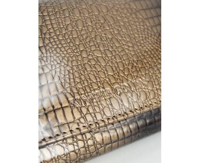 Классический коричневый кошелек лаковый с тиснением под рептилию KINGTH GOLDN, фото 3