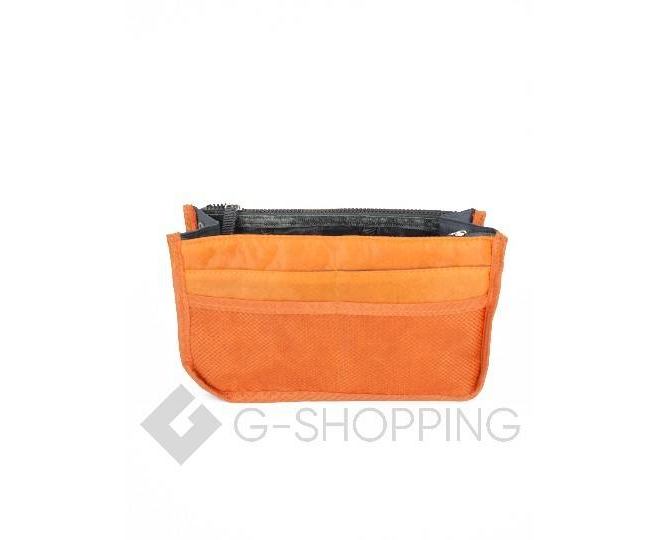 Косметичка-органайзер оранжевая на молнии
