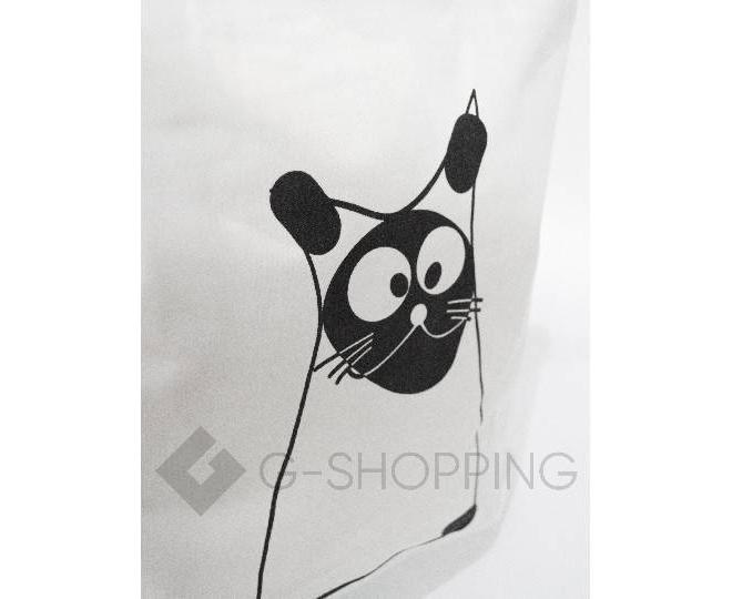 Текстильная сумка-шоппер с принтом на молнии белая C188-1, фото 3