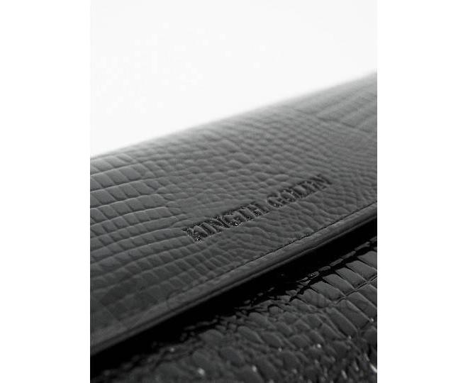Женский кошелек из черной лакированной кожи с тиснением под рептилию WP13-465-6 KINGTH GOLDN, фото 3