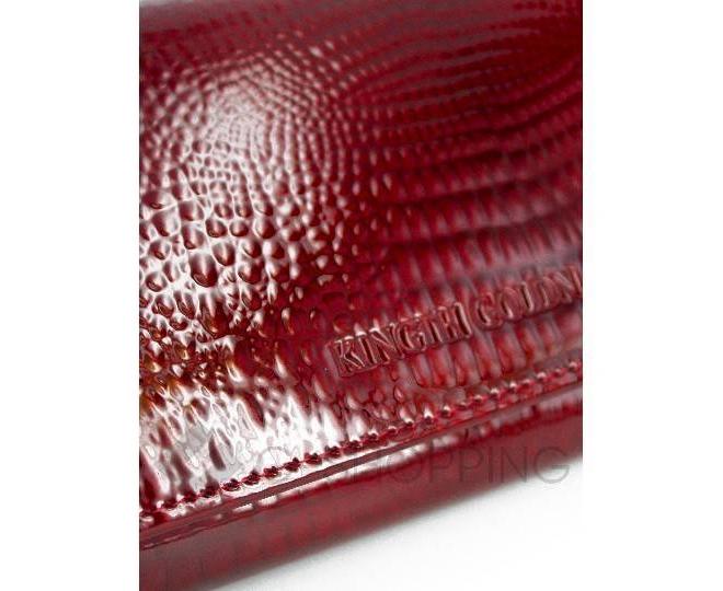 Кошелек женский лаковый с тиснением под рептилию красный WP13-85242-4, фото 3