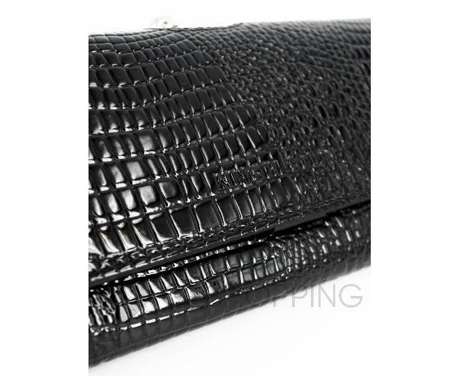 Лаковый кошелек из черной лакированной кожи с тиснением под рептилию с застежкой фермуар WP13-520-6, фото 3