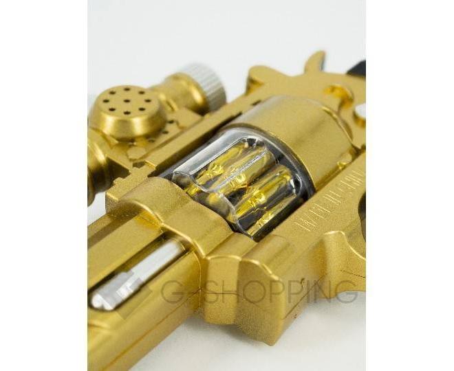 Пластиковый свето-звуковой игрушечный пистолет Dolemikki золотистый, фото 3
