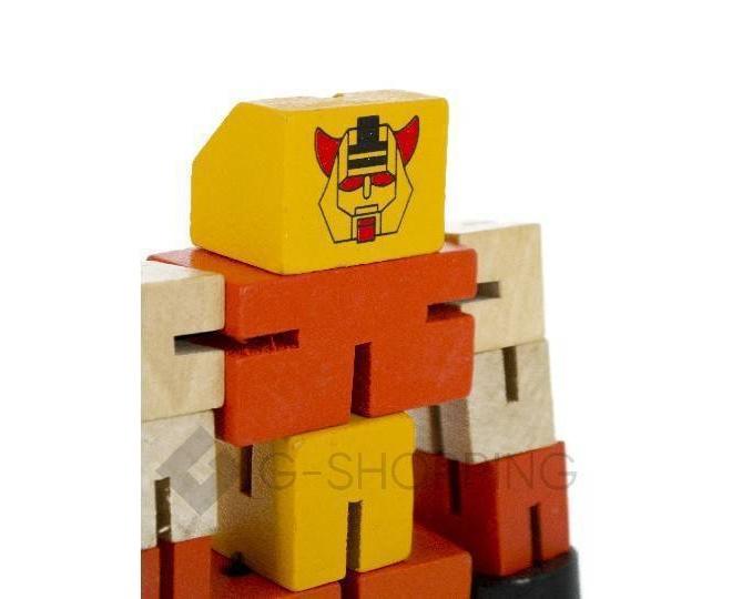 Деревянный робот-трансформер красный DOLEMIKKI, фото 3