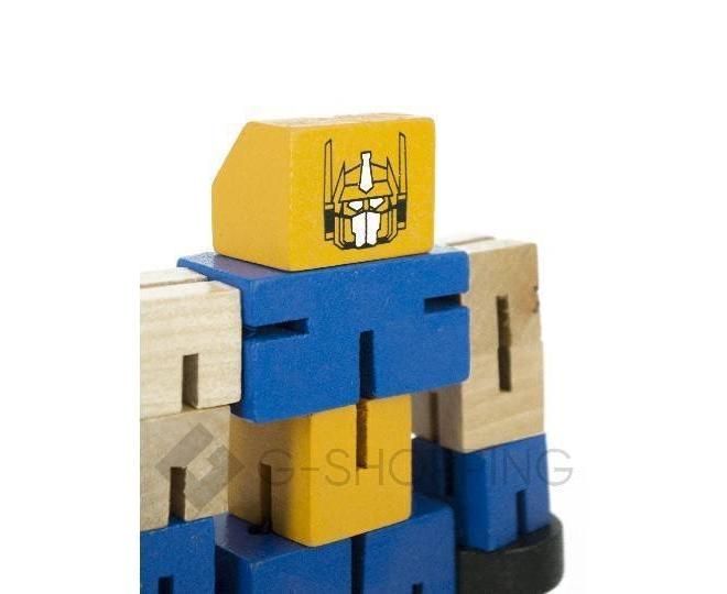 Деревянный робот-трансформер синий DOLEMIKKI, фото 3