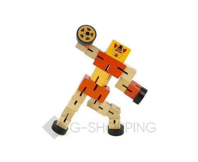 Деревянный робот-трансформер красный DOLEMIKKI, фото 4
