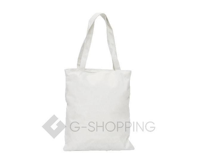 Текстильная сумка-шоппер с принтом на молнии белая C188-1, фото 4