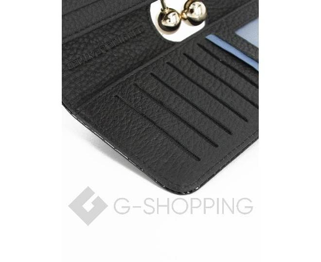 Лаковый кошелек из черной лакированной кожи с тиснением под рептилию с застежкой фермуар WP13-520-6, фото 4