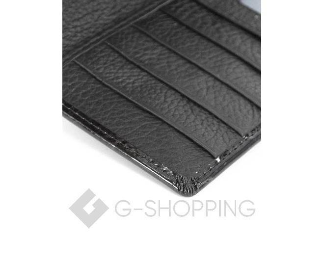 Классический лаковый черный кошелек на магнитной застежке KINGTH GOLDN