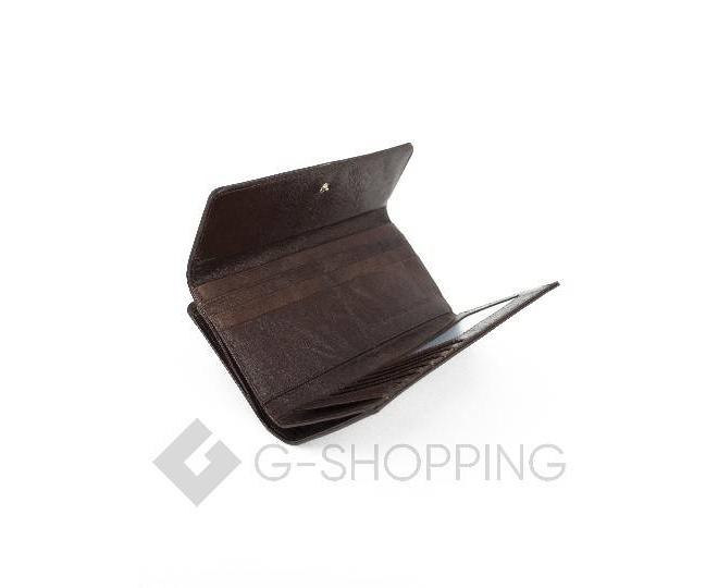 Женский лаковый кошелек с принтом бабочки коричневый WP13-465-1 KINGTH GOLDN, фото 4