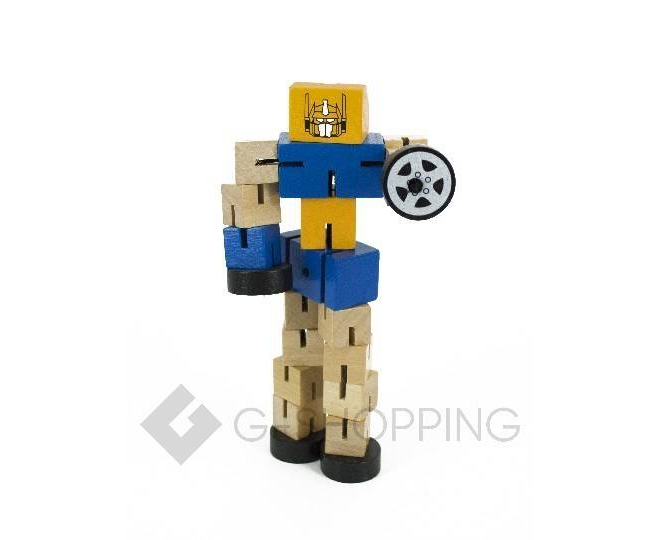 Деревянный робот-трансформер синий DOLEMIKKI, фото 4