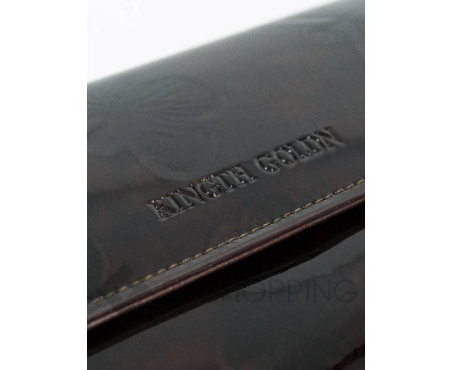 Женский лаковый кошелек с принтом бабочки коричневый WP13-465-1 KINGTH GOLDN, фото 5