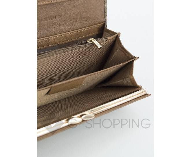 Классический коричневый кошелек лаковый с тиснением под рептилию KINGTH GOLDN, фото 5