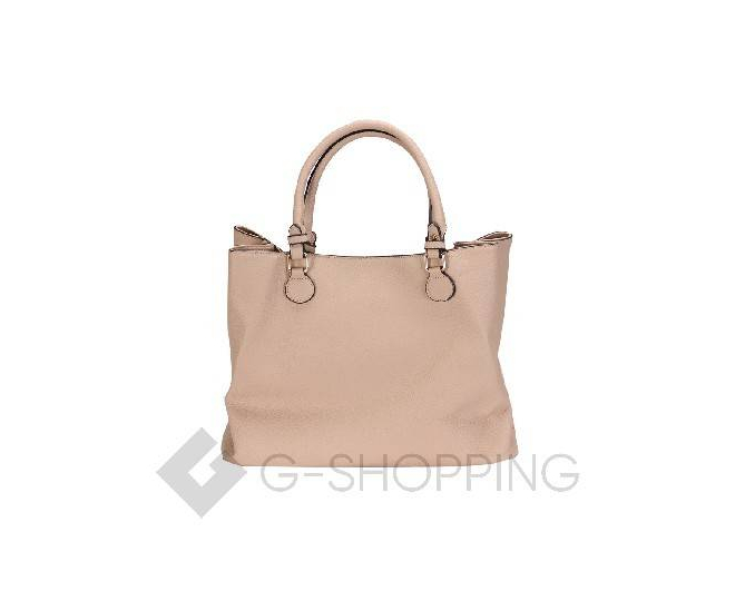 Женская сумка бежевая на молнии, фото 3