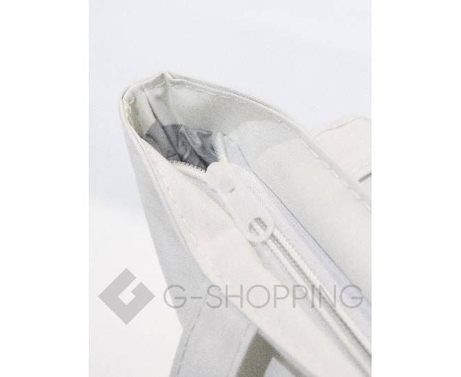 Текстильная сумка-шоппер с принтом на молнии белая C188-1, фото 5