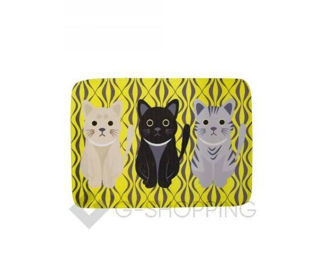 """Антискользящий влагопоглощающий напольный желтый коврик """"Кошки"""" R012-J-S, фото 1"""