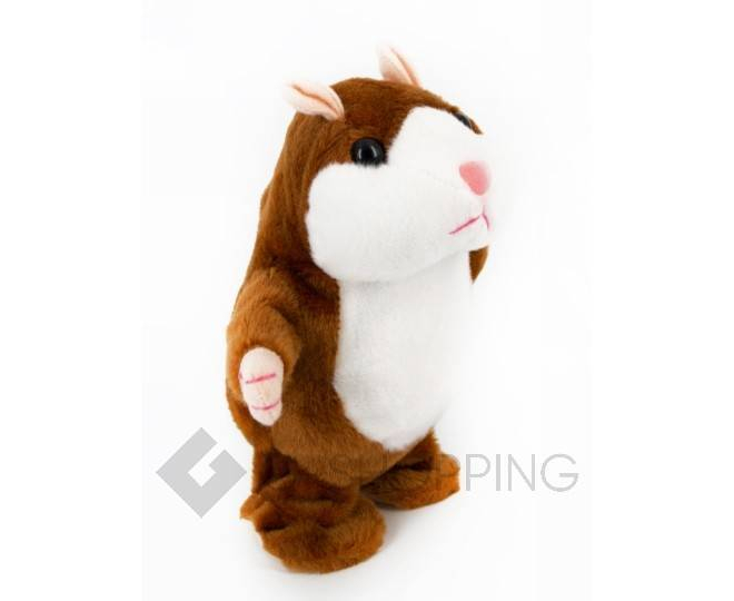"""Детская интерактивная мягкая игрушка """"Говорящий хомячок"""" коричневый 20 см, фото 1"""