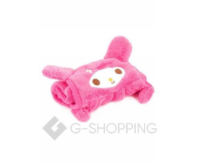 Детское ярко-розовое полотенце для рук из кораллового флиса с мультяшным изображением, фото 2