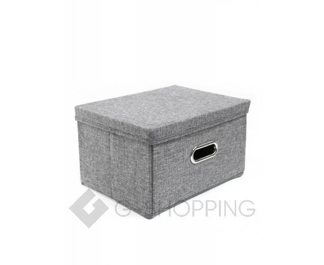 Льняной ящик для хранения вещей серый RYP104-S, фото 1