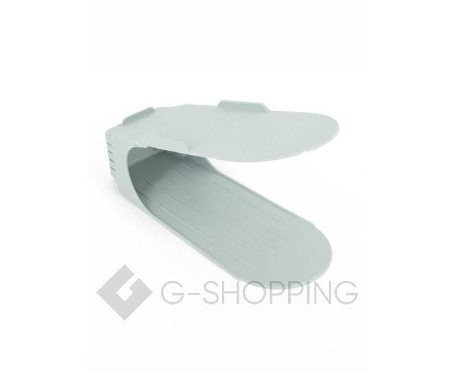 Регулируемая пластиковая подставка для обуви серая, фото 1