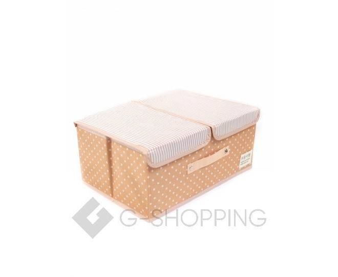 Объемный текстильный ящик для хранения с 2мя отсеками розовое шампанское, фото 1