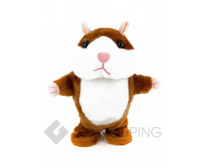 """Детская интерактивная мягкая игрушка """"Говорящий хомячок"""" коричневый 20 см, фото 2"""