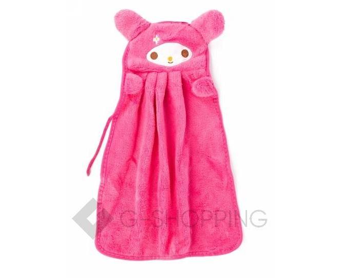 Детское ярко-розовое полотенце для рук из кораллового флиса с мультяшным изображением, фото 1