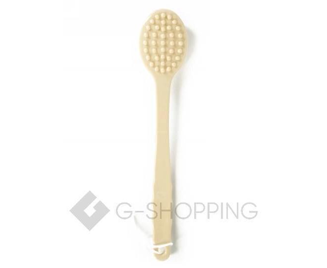 Массажная щетка для тела с мягкими ворсинками и длинной пластиковой ручкой бежевая, фото 2