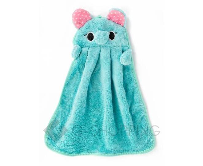 """Детское полотенце для рук """"Слоник""""  из кораллового флиса с крючком, фото 1"""