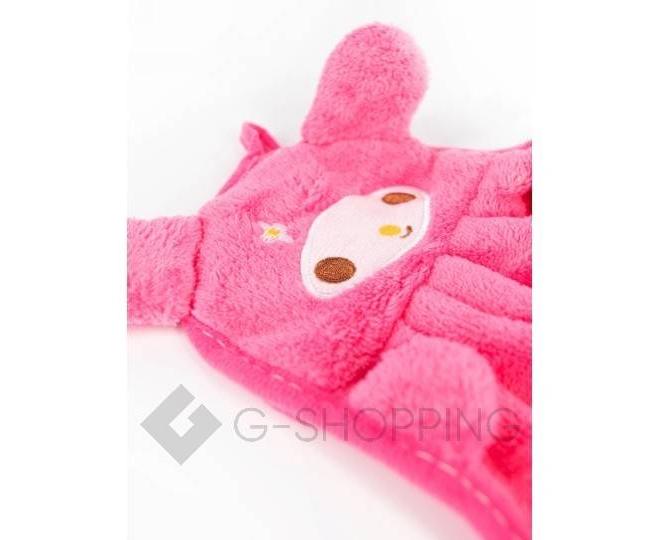 Детское ярко-розовое полотенце для рук из кораллового флиса с мультяшным изображением, фото 3