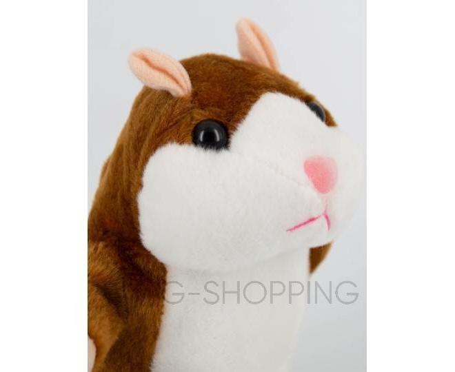 """Детская интерактивная мягкая игрушка """"Говорящий хомячок"""" коричневый 20 см, фото 3"""
