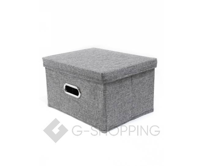 Льняной ящик для хранения вещей серый RYP104-S, фото 3