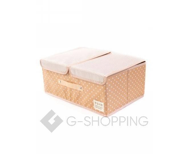 Объемный текстильный ящик для хранения с 2мя отсеками розовое шампанское, фото 3