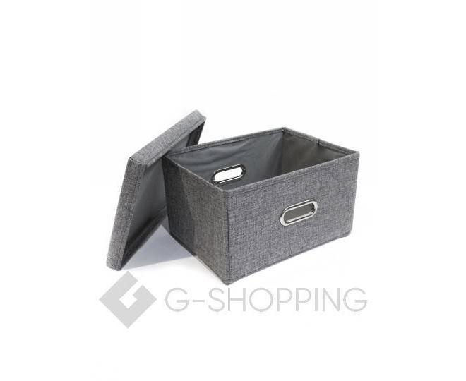 Льняной ящик для хранения вещей серый RYP104-S, фото 4