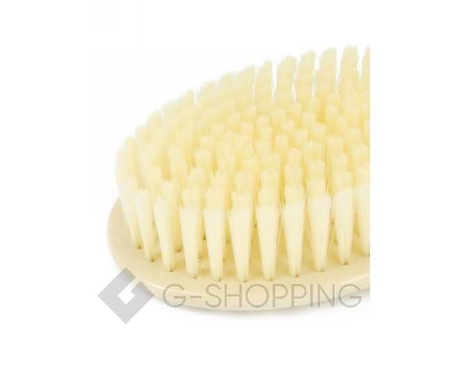 Массажная щетка для тела с мягкими ворсинками и длинной пластиковой ручкой бежевая, фото 4