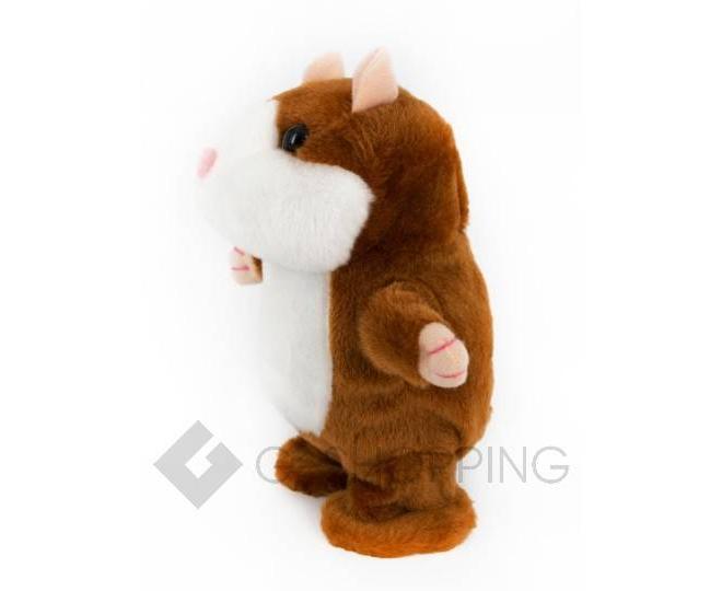 """Детская интерактивная мягкая игрушка """"Говорящий хомячок"""" коричневый 20 см, фото 4"""