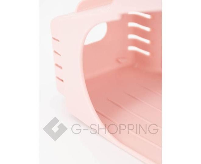 Регулируемая пластиковая подставка для обуви светло-розовая, фото 4