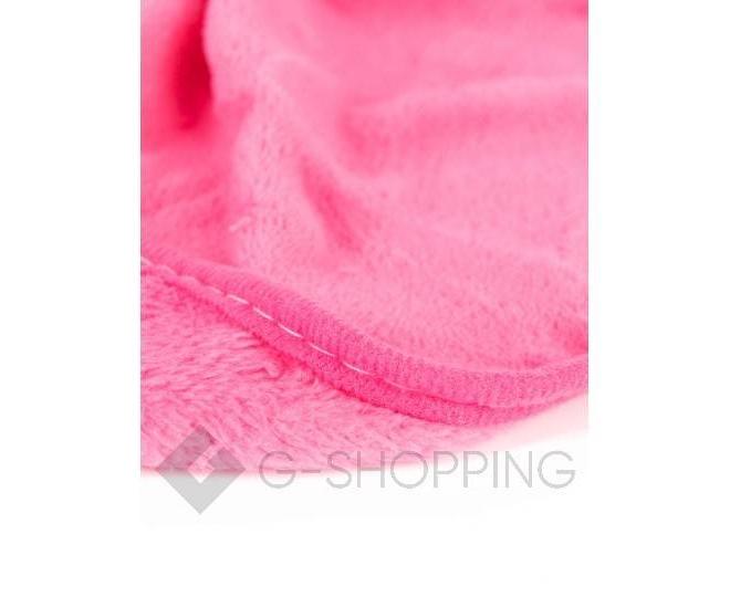 Детское ярко-розовое полотенце для рук из кораллового флиса с мультяшным изображением, фото 4