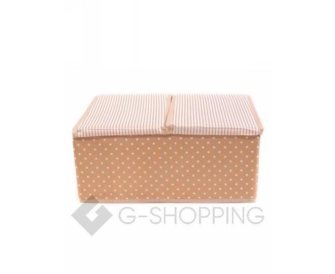 Объемный текстильный ящик для хранения с 2мя отсеками розовое шампанское, фото 4
