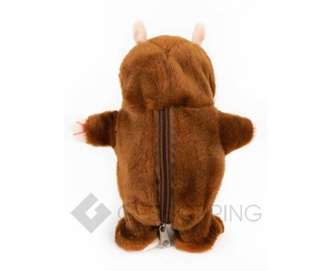 """Детская интерактивная мягкая игрушка """"Говорящий хомячок"""" коричневый 20 см, фото 5"""