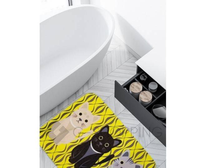 """Антискользящий влагопоглощающий напольный желтый коврик """"Кошки"""" R012-J-M, фото 5"""