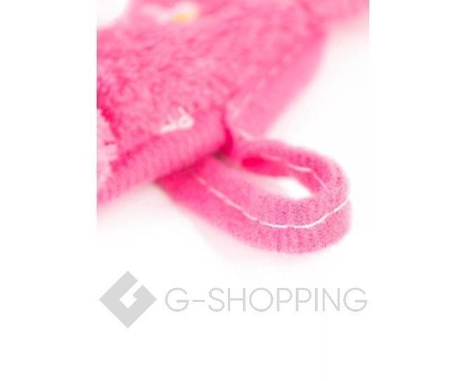 Детское ярко-розовое полотенце для рук из кораллового флиса с мультяшным изображением, фото 5