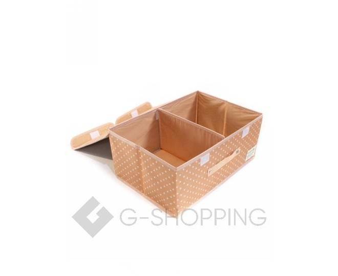 Объемный текстильный ящик для хранения с 2мя отсеками розовое шампанское, фото 6