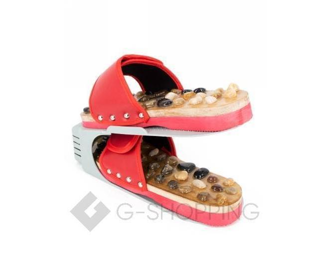 Регулируемая пластиковая подставка для обуви серая, фото 6