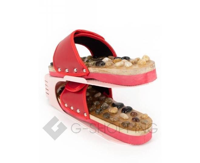 Регулируемая пластиковая подставка для обуви светло-розовая, фото 6