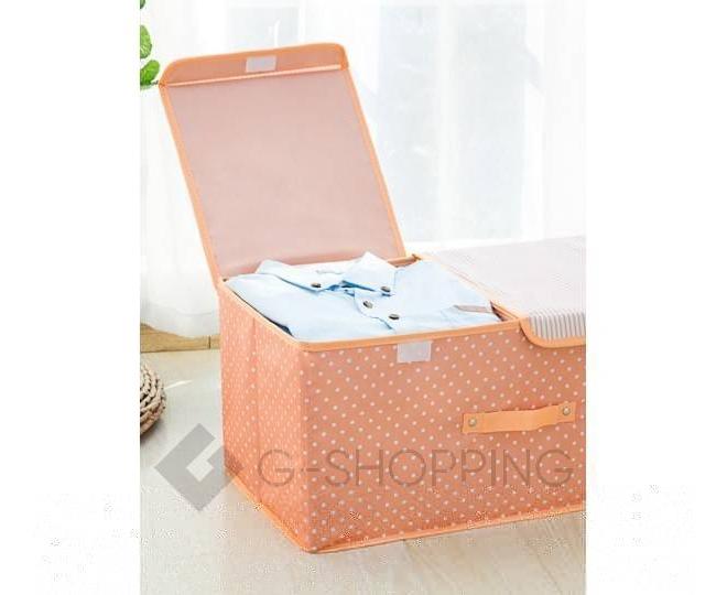 Объемный текстильный ящик для хранения с 2мя отсеками розовое шампанское, фото 8
